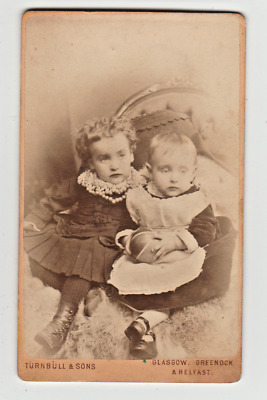 cdv photo antique darling children siblings loving pose with toy ball shiney