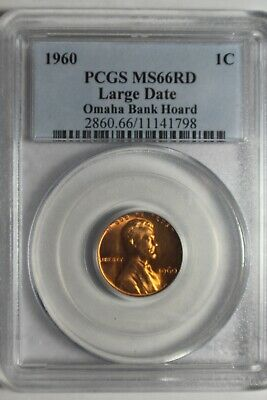 1960 Large Date Lincoln Memorial Cent PCGS MS66 RD #798 Omaha Bank Hoard