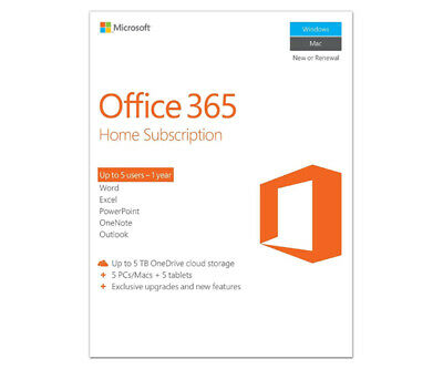 Microsoft Office 365 Home Subscription Software for 5PCs/Macs + 5Tablets - 1 Yr