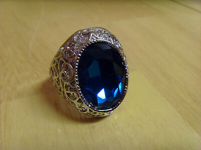 Turkish Silver Sapphire Cocktail Statement Ring, Ottoman Style, Ornate ,size 12