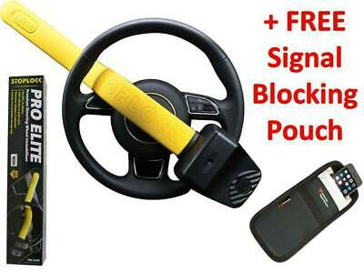 Stoplock Pro Car Steering Wheel Lock & Key / Remote Signal Blocker Pouch