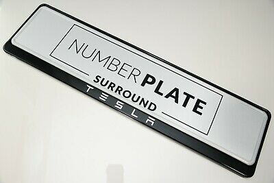 1 x PRESTIGE BLACK STAINLESS STEEL NUMBER PLATE SURROUND HOLDER * FOR TESLA
