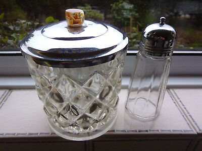 vintage sugar shaker and glass jar collectable kitchen ornament utensils cutlery