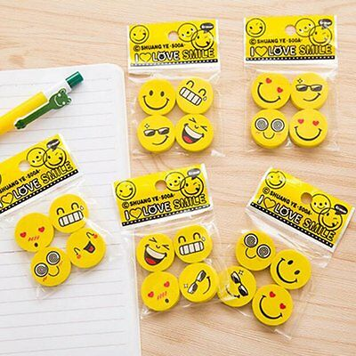 4PCS Funny Emoji Rubber Pencil Eraser Novelty Student Gift Cute Toy For Kids SU6
