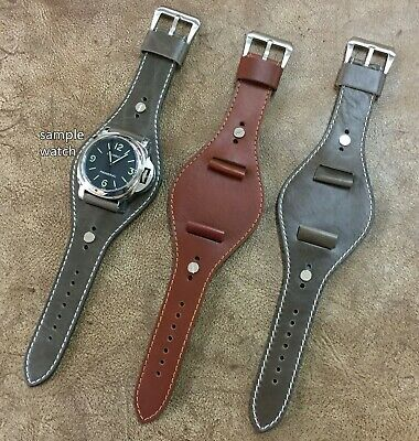 Size 22/24mm Vintage Military Wide Leather Pad Cuff Watch Wrist Strap/Band #088
