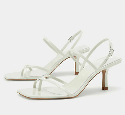 9b5c71c0266 ZARA WOMAN 2019 Kitten Mid-Heel Strappy Leather Sandals White 35-42  Ref.2341/001