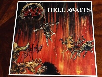 Kerry King Slayer Guitarist Signed Hell Awaits 12X12 Album Cover Photo Setlist!!