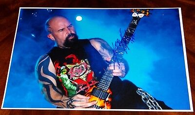 Kerry King Slayer Guitarist Signed 12X18 Photo!!! Setlist!!! Heavy Metal!!!
