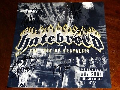 Hatebreed The Rise Of Brutality Band Signed X5 12X12 Album Cover Photo!!!