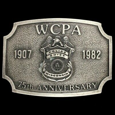 Vtg Wcpa Wisconsin Police Chief 75th Anniversary Commemorative Nos Belt Buckle