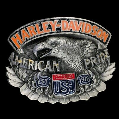 Vtg Harley Davidson Made Usa 1903 American Eagle Biker Baron 1992 Belt Buckle