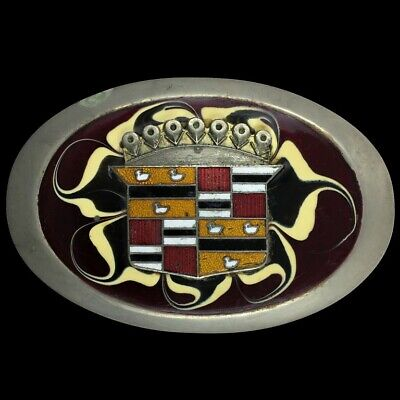 Vtg Cadillac Caddy Motor Co Crown Ducks Crest Logo Badge Emblem 80s Belt Buckle