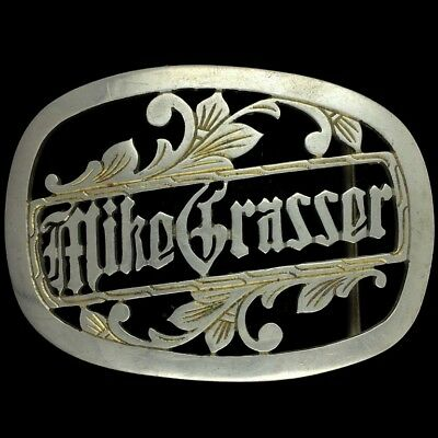 Vtg Mike Grasser Navy Military Philippines WWII Etched Trench Art Belt Buckle