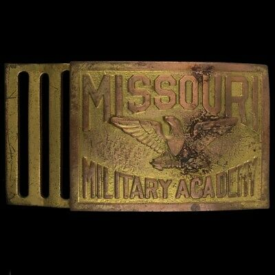 Vtg Missouri Military Academy School Dress Uniform Brass Antique Belt Buckle