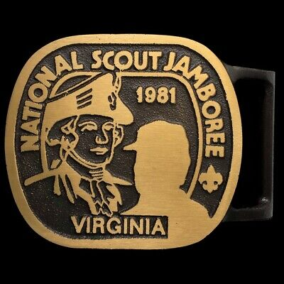 Vtg Max Silber Bsa National Boy Scout Jamboree Virginia 1981 Nos Belt Buckle