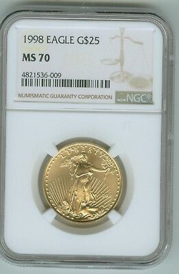 1998 American Gold Eagle $25 (1/2 oz.) NGC MS 70 Registry Set Coin!