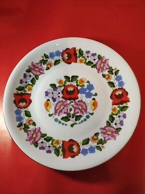 Porcelain Plate. Hand Painted Porcelain Decorated Wall Plate Kalocsa Hungarian