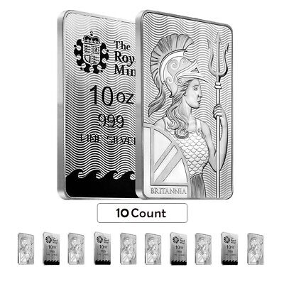 Lot of 10 - 10 oz Britannia Silver Bar .999 Fine (Sealed)