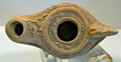 Ancient Oil Lamp Holly Land, Middle East Decorated 'As Found' Debris Intact Vf!