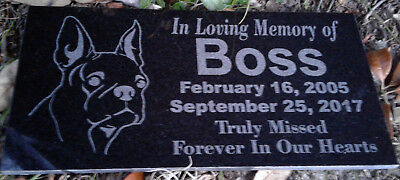 "Personalized Laser Engraved 6""x12"" Granite Pet Memorial Plaque/Marker"