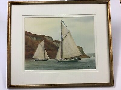 """Listed Connecticut Artist Suzy Aalund Watercolor """"Hudson River Sloop"""""""