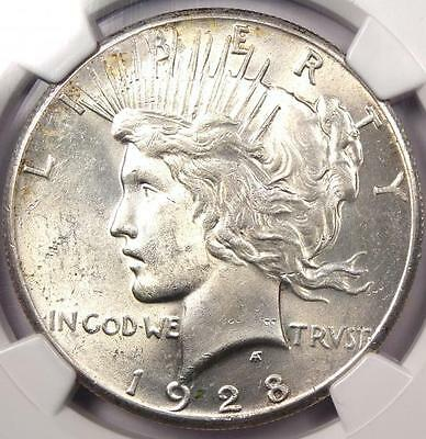 1928 Peace Silver Dollar $1 - NGC Uncirculated - Rare 1928-P BU MS UNC Coin!