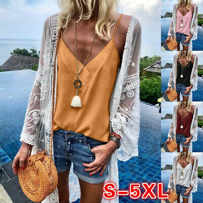 Sexy Women Summer Lace V Neck Vest Tank Tops Sleeveless T-Shirt Blouse Camisole