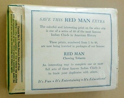 1954 Red Man Tobacco Indian Chiefs (chief unknown) original unopened pack & seal