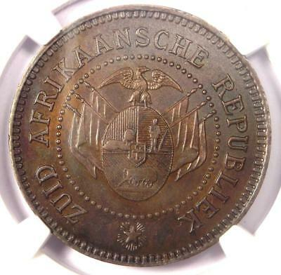 1874 South Africa Zar Pattern Penny 1D - NGC MS63 - Rare Certified Coin!