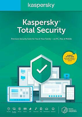 Kaspersky Total Security 2018 2019- 1 PC USER DEVICE 1 Year