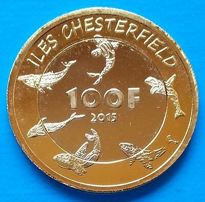 Chesterfield - New Caledonia 100 francs 2015 UNC Whale Bimetallic unusual coin