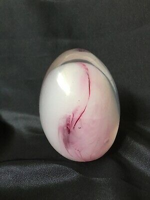 """Vintage Hand Blown Art Glass Paperweight Egg With Pink and Purple Swirl 3"""" X 2"""""""