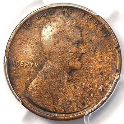1914-D Lincoln Wheat Cent 1C - PCGS VF Details - Rare Key Date Certified Penny