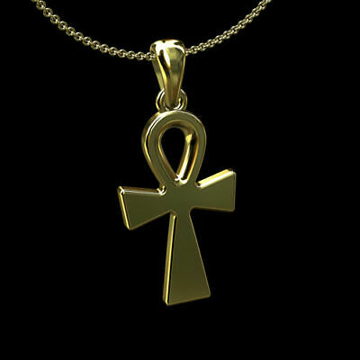 14K Yellow Gold Religious Ankh Cross Pendant Necklace