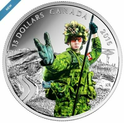 Canada 2016 $15 National Heroes: Military, 99.99% Pure Silver Color Proof Coin