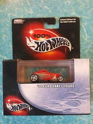Hot Wheels 100% '34 Ford Lakes Coupe Red With Real Riders
