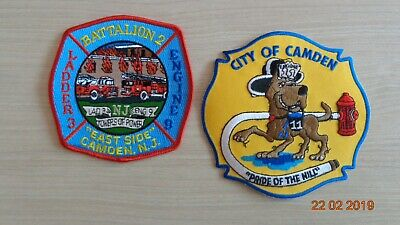 fire patches : lot de 2 écussons de pompiers de CAMDEN New Jersey