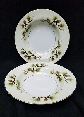 NARUMI Japan SHASTA PINE Cream pattern rimmed soup bowls set of 2,  8-1/2""