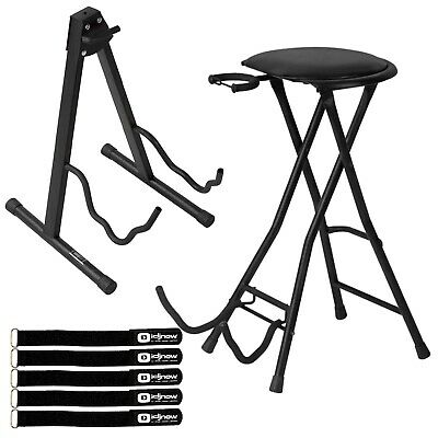 On-Stage Stands DT7500 Padded Stool Footrest with Single Guitar Stand