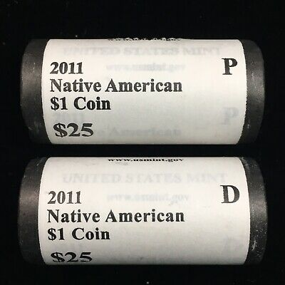 2011-P & 2011-D Sacagawea Native American Dollar U.s. Mint Wrapped Rolls - Unc
