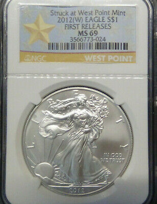 2012(W) 1 oz Silver American Eagle MS69 NGC, First 50 Boxes (FR), West Point