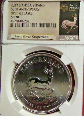 2017 South Africa 50th Ann. 1 oz Silver Krugerrand NGC SP70 FR Krugerrand Label