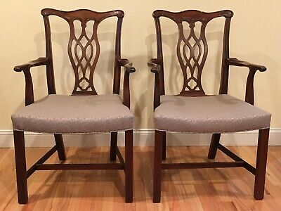 Hickory Chair Furniture Co Pair Of Chippendale Mahogany Dining Arm Chairs 836 01