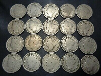 Lot #1) 20 nice mixed dates all 1900's Liberty Head V Nickel 5C Nickle lot