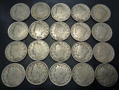 Lot #5) 20 nice mixed dates all 1900's Liberty Head V Nickel 5C Nickle lot