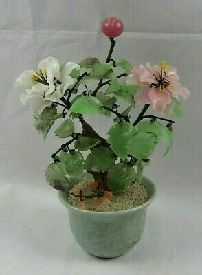 Vintage Asian Chinese Bonsai Cherries Flowers Tree of Life Jade Celadon Vase