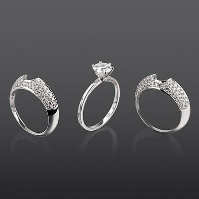Vs1 2 Ct 6 Prong Diamond Bands Set Ring Lady Round Shape Real 18 Kt White Gold