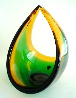 Vintage Murano Sommerso Green & Amber Art Glass Basket Bowl Original Label MCM