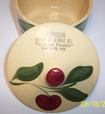 Watt Pottery Three Leaf one  Apple #01 Grease Bowl with South Dakota Advertismen