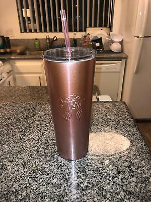 New 2019 Starbucks Rose Gold Pink Glitter Cold Cup Stainless Steel Tumbler